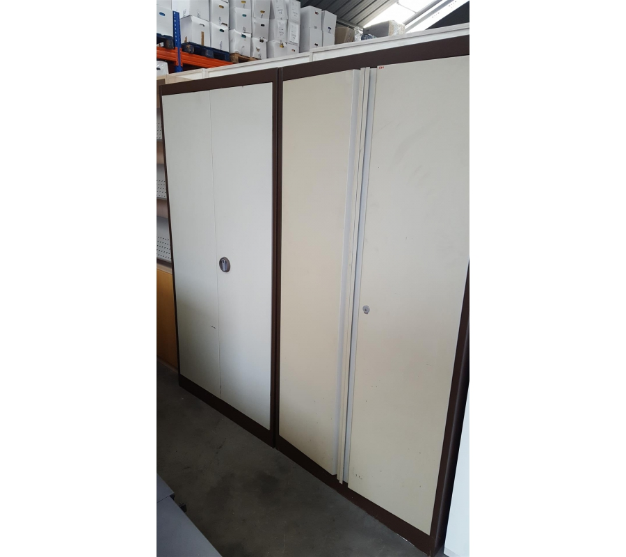 Lot de 2 armoires m tallique 2 portes brune beige for Armoire metallique 2 portes