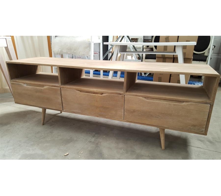 Petit meuble bas en bois 3 tiroirs for Petit tiroir en bois