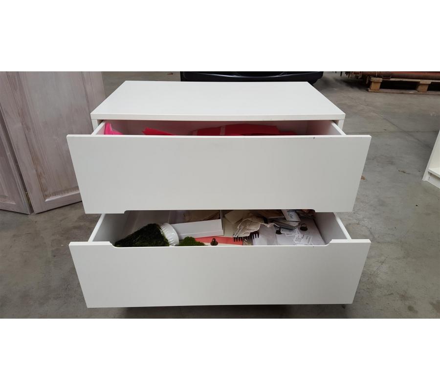 Petit meuble en bois blanc 2 tiroirs for Petit meuble tiroir blanc