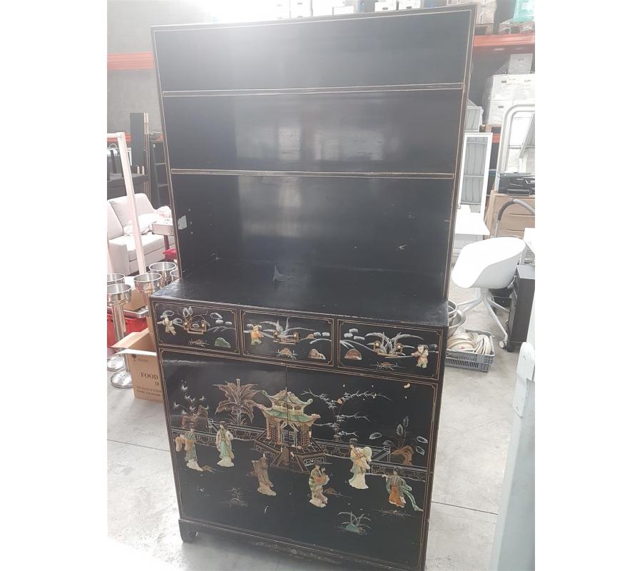 armoire style asiatique 2 portes sans cl 3 tiroirs