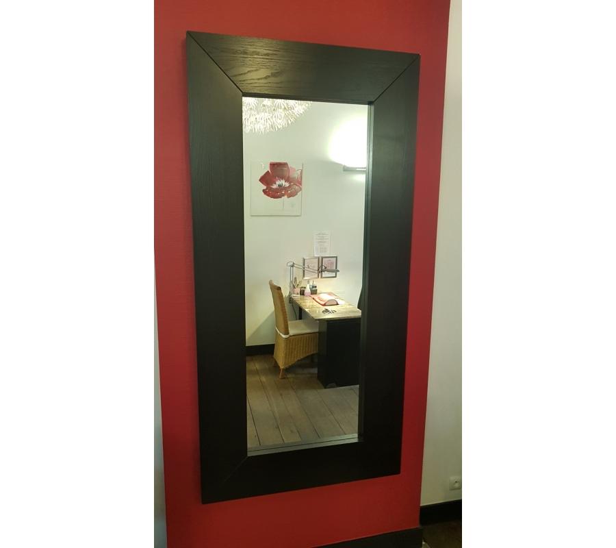 Grand miroir avec bord en bois noir 80x170 for Miroir bord noir