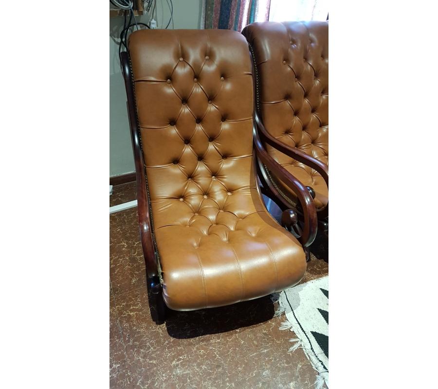 vieux fauteuil en cuir brun 1 personne. Black Bedroom Furniture Sets. Home Design Ideas